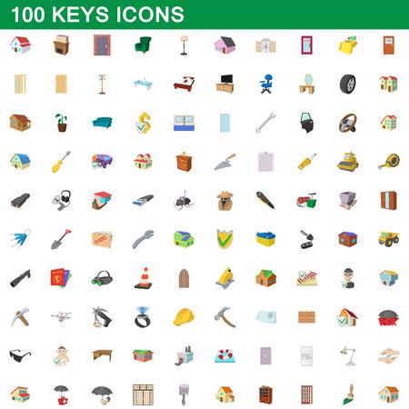 Ensemble d'icônes de 100 touches, style de dessin animé