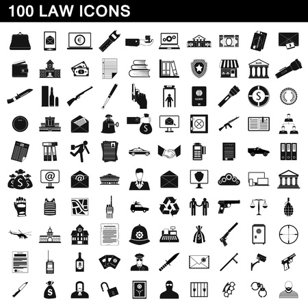 100 law icons set, simple style