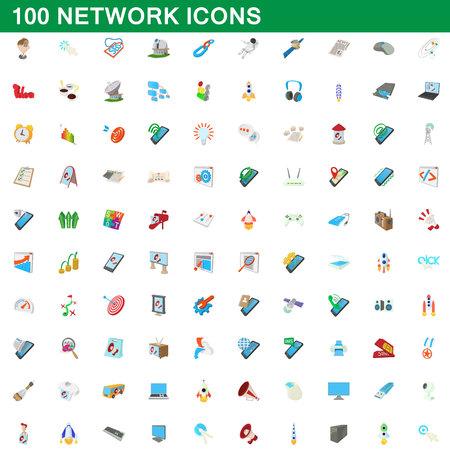 Ensemble d'icônes réseau 100, style de dessin animé Illustration