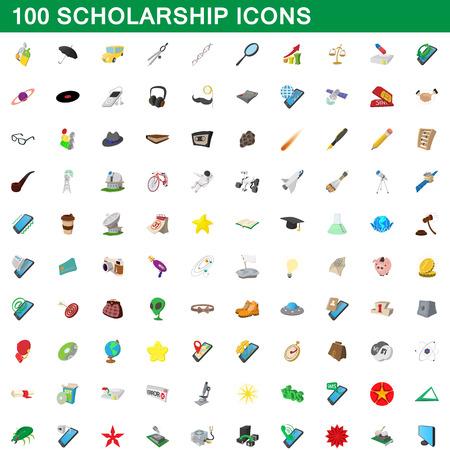 100 scholarship icons set, cartoon style illustration. Illustration