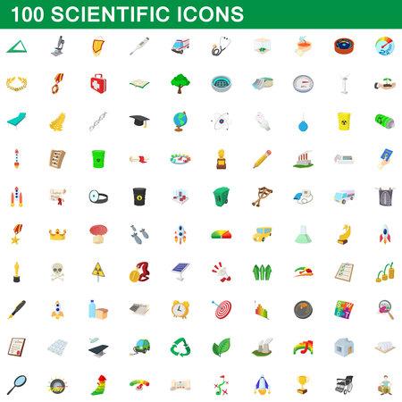 100 scientific icons set, cartoon style illustration. Illustration