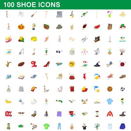 Ensemble d'icônes de 100 chaussures, illustration de dessin animé.