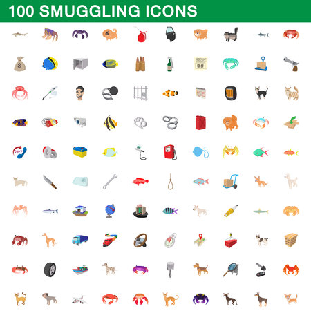 100 smokkel pictogrammen set, cartoon stijl illustratie.