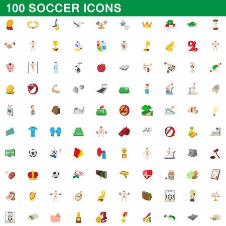 100 soccer icons set, cartoon style illustration. Illustration
