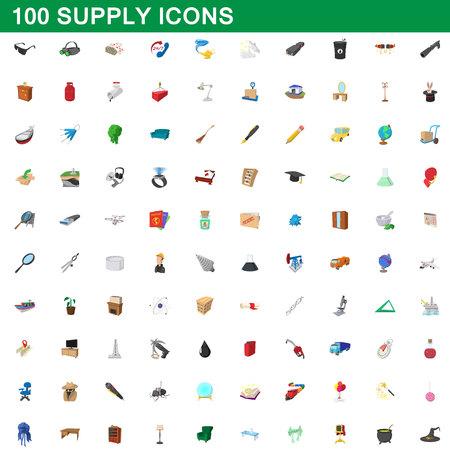 Ensemble d'icônes de 100 fournitures, illustration de dessin animé. Illustration