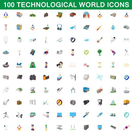 100 icônes mondiales technologiques, illustration de dessin animé.