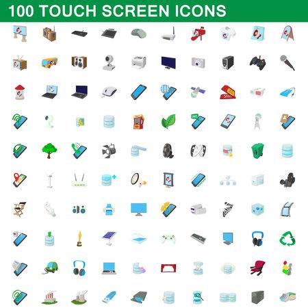 100 touch screen icons set, cartoon style illustration. Illustration