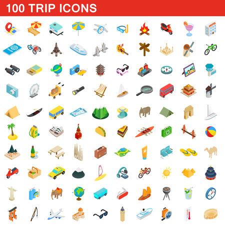 100 trip icons set, isometric 3d style illustration. Illustration