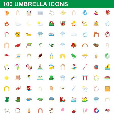 100 umbrella icons set, cartoon style illustration. Illustration