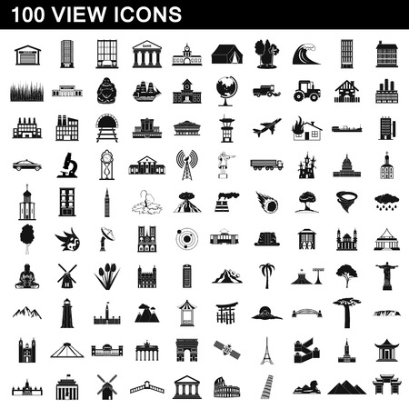 100 view icons set, simple style illustration.