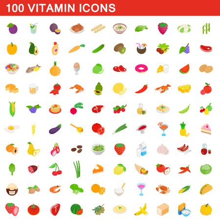 100 vitamin icons set, isometric 3d style illustration.