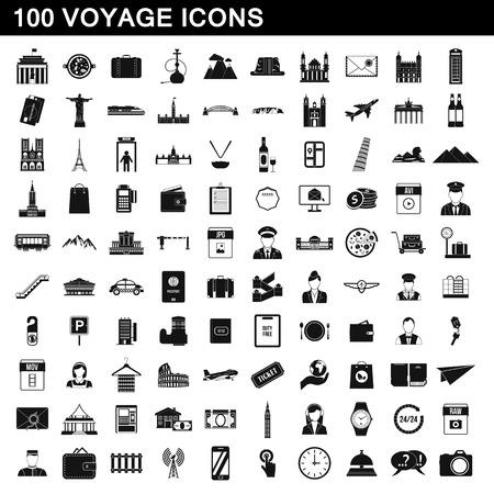 100 ensemble d'icônes de voyage, illustration de style simple.