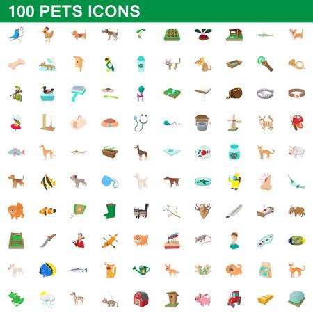 Ensemble d'icônes de 100 animaux, style de dessin animé Illustration
