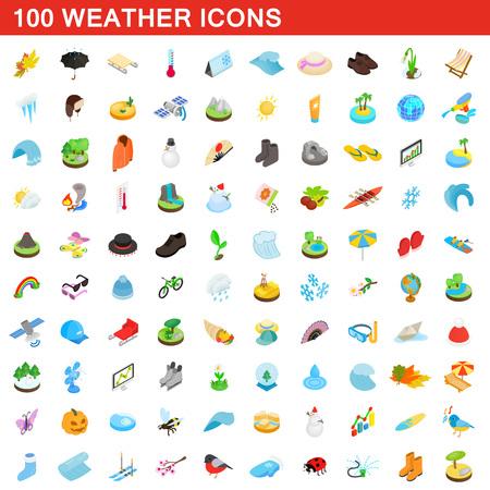 100 weather icons set, isometric 3d style illustration.