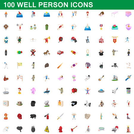 100 well person icons set, cartoon style illustration.