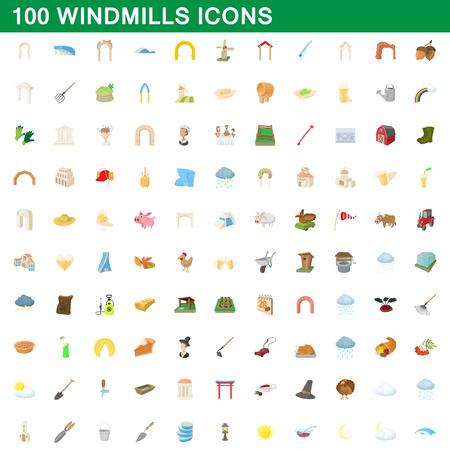 Ensemble d'écrans de 100 moulins à vent, style de dessin animé
