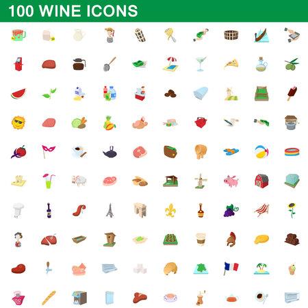 Ensemble de 100 icônes de vin, illustration de dessin animé. Illustration