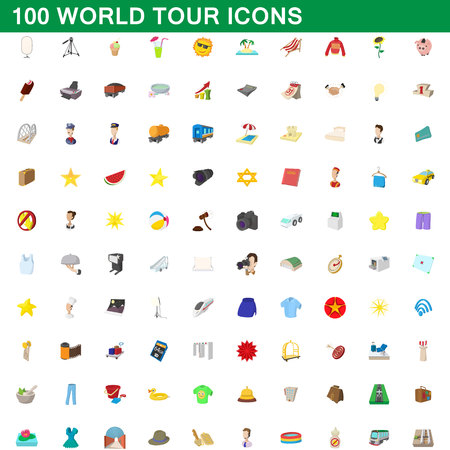 100 world tour icons set, cartoon style illustration. Illustration