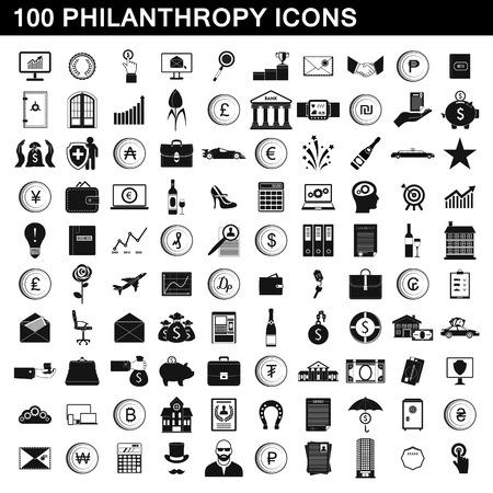 100 philanthropy icons set, simple style