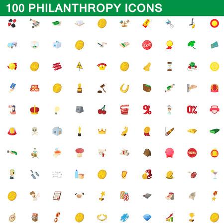 100 philanthropy icons set, cartoon style