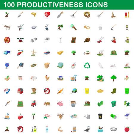 100 productiveness icons set, cartoon style Illustration