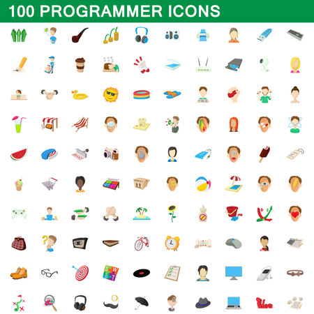 100 programmer icons set, cartoon style Illustration