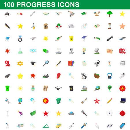 100 progress icons set, cartoon style Illustration