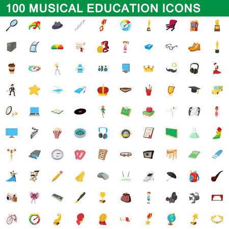 100 musical education icons set, cartoon style