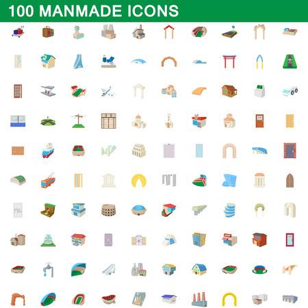 100 manmade icons set, cartoon style