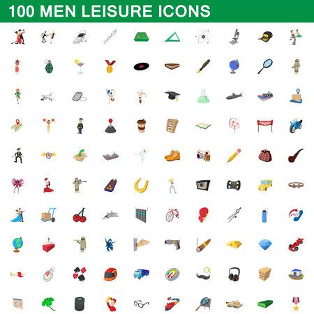 100 men leisure icons set, cartoon style Illustration