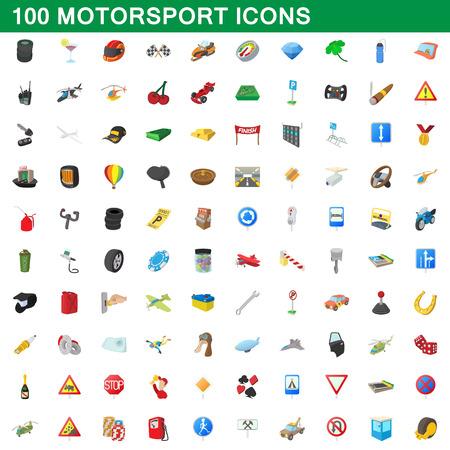 100 motorsport icons set, cartoon style