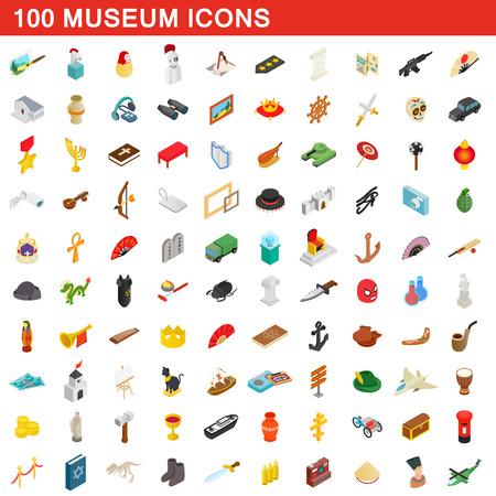 100 icônes de musée ensemble, style 3D isométrique