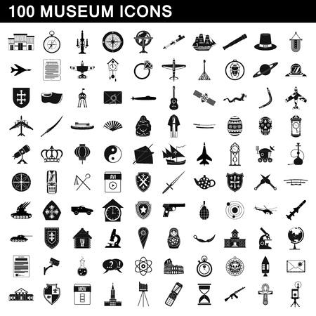 100 icônes de musées ensemble, style simple