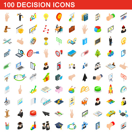 100 decision icons set, isometric 3d style