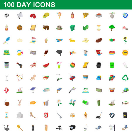 100 day icons set, cartoon style Banque d'images