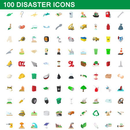 environmental policy: 100 disaster icons set, cartoon style