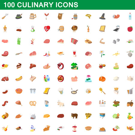 100 culinary icons set, cartoon style Banque d'images