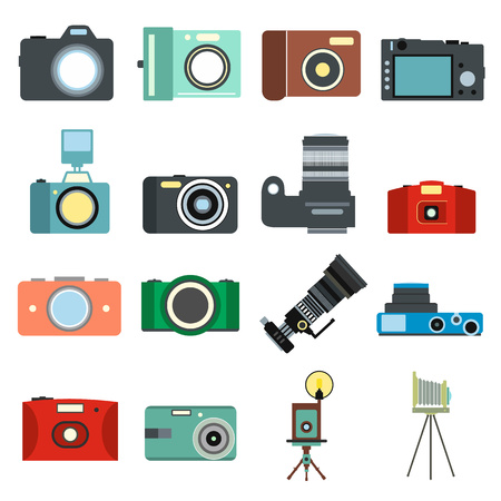 Photography flat icons set isolated on white background