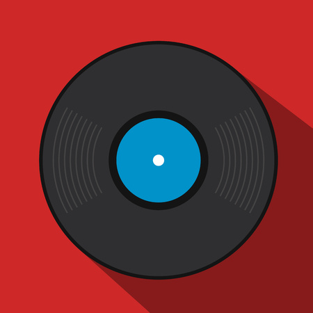 Retro vinyl record flat icon for web and mobile devices