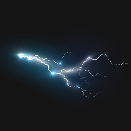 Realistic lightning symbol on black background. Natural effects Vectores