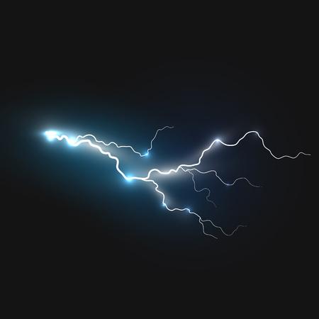 Realistic lightning symbol on black background. Natural effects Illustration