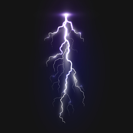 New realistic lightning sign on black background. Natural effects