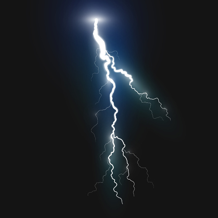New realistic lightning symbol on black background. Natural effects