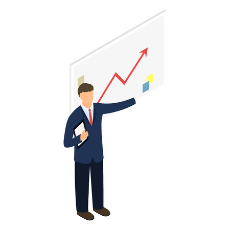Isometric man with chart Stock Photo