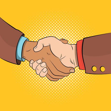 Handshake comics concept Reklamní fotografie