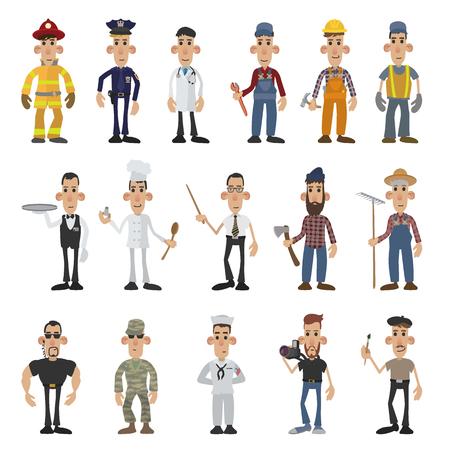 Cartoon men of 16 different professions