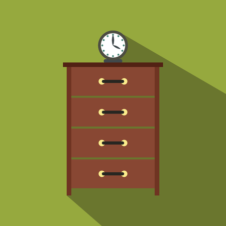 Dresser with a clock flat icon
