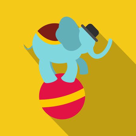 Circus elephant on ball icon