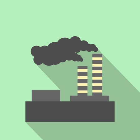 Factory pollution flat icon