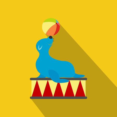 Seal playing ball flat icon